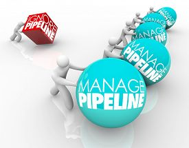 foto of clientele  - Manage Pipeline words on balls pushed by winning business people and one person struggling by ignoring his sales pipeline and losing customers - JPG