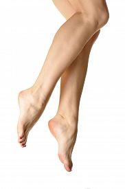 picture of peg-leg  - Legs woman which lies on her knees to toe and soles on a white background - JPG