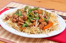 stock photo of chow-chow  - healthy home made chicken chow mein or chow mien with crispy noodles - JPG