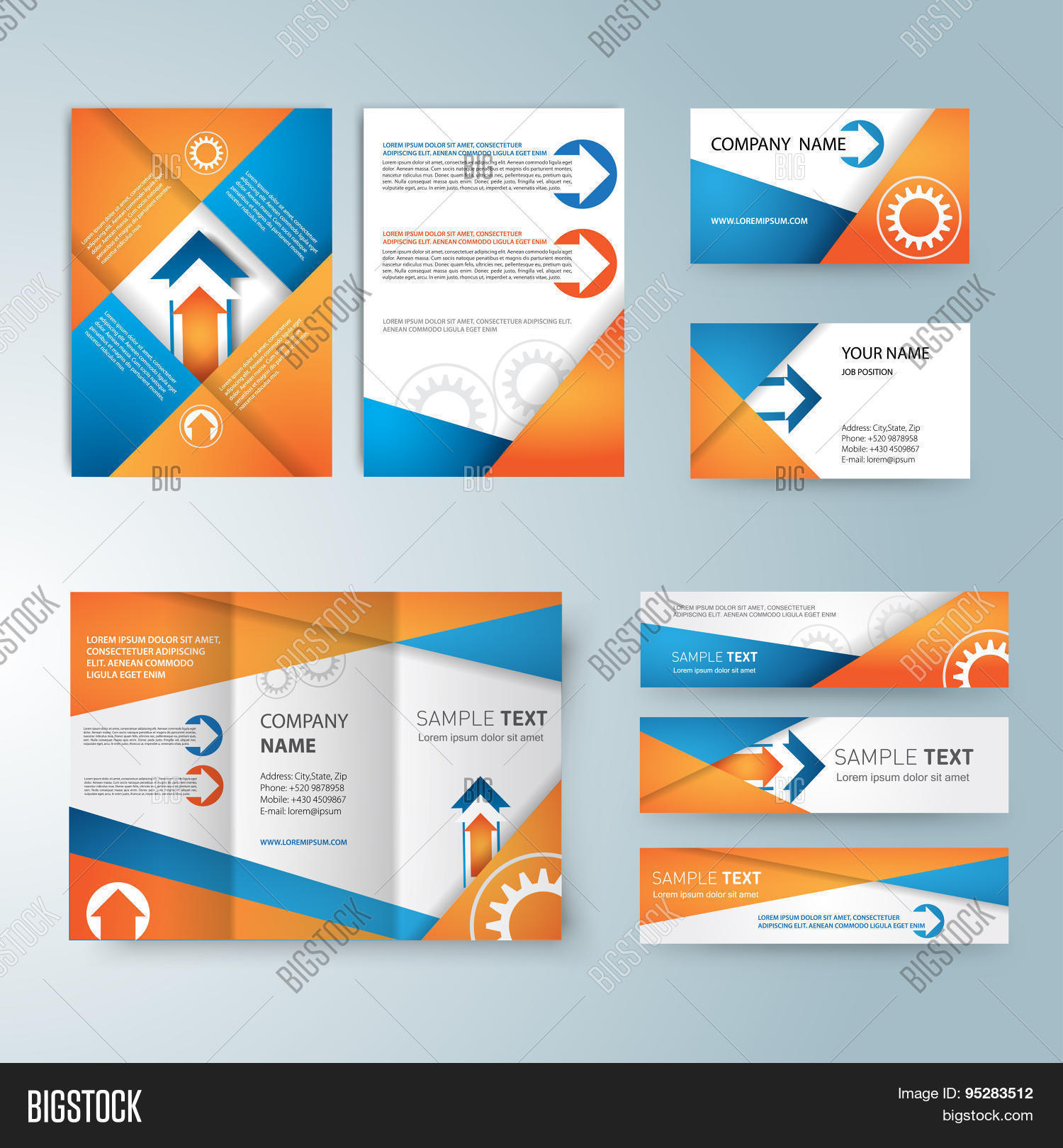 corporate identity templates with blank name card folded paper