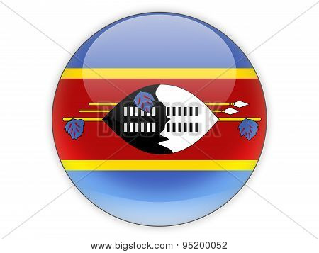 Round Icon With Flag Of Swaziland