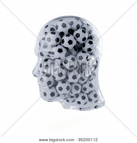 Human Head Filled With Football Balls