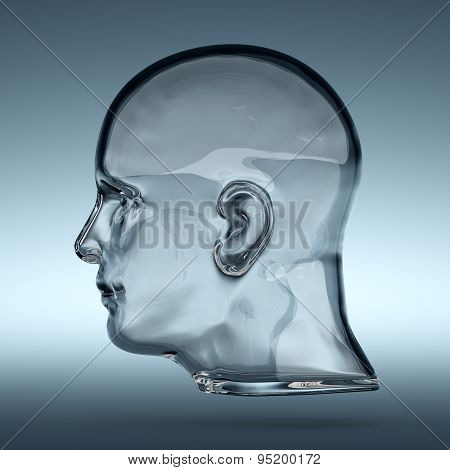 Empty Glass Transparent Human Head