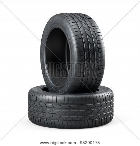New Unused Car Tires Isolated