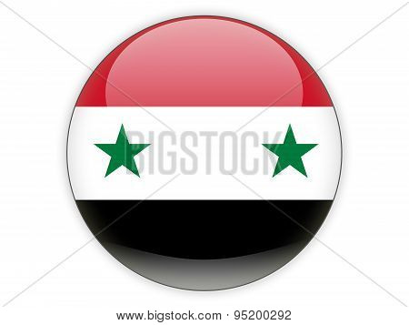 Round Icon With Flag Of Syria