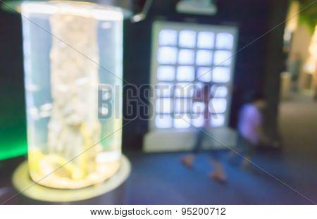 Image Of Blur People In Aquarium With Bokeh