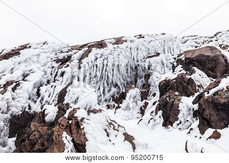 Ice Stalactites On Volcanic Rocks