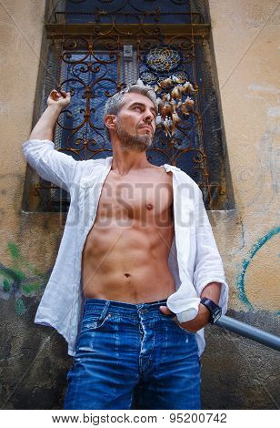 Sexy Fashion Portrait Hot Male Model In Stylish Jeans And Shirt