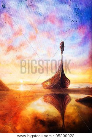 Viking Boat On The Beach, Painting On Canvas, Boat With Wood Dragon