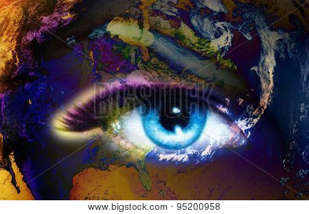 Planet Earth And Blue Human Eye With Violet And Pink Day Makeup. Eye Painting.