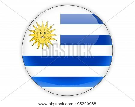Round Icon With Flag Of Uruguay
