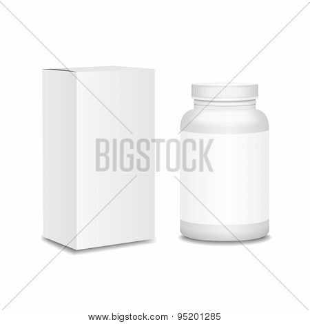 Blank medicine bottle with box realistic isolated on white background  illustration