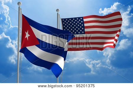 Cuba and United States flags flying together for diplomatic talks