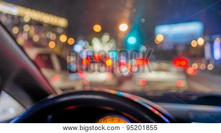 Blur Image Of Inside Cars With Bokeh .