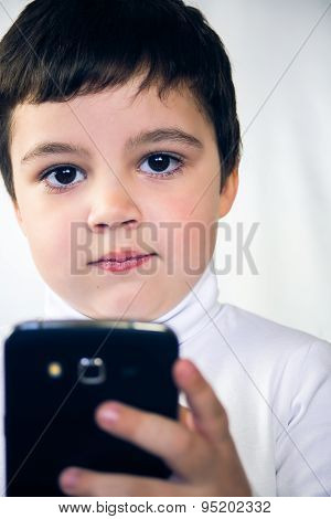 boy with white background smartphone
