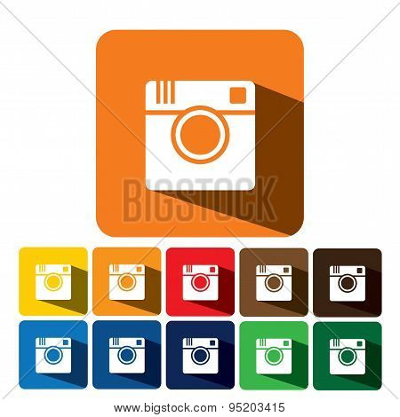 Flat Design Vector Icon Of Digital Camera For Photo Capturing &  Sharing On Internet