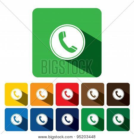 Flat Design Vector Icon Of Phone Receiver For Chat Interaction On Internet