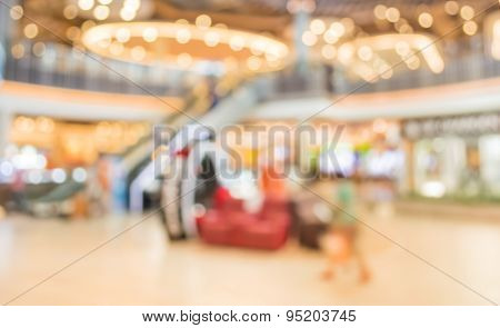 Blur Image Of People In The Lobby Of A Modern Business Center