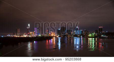 Cityscape of Ho Chi Minh at night