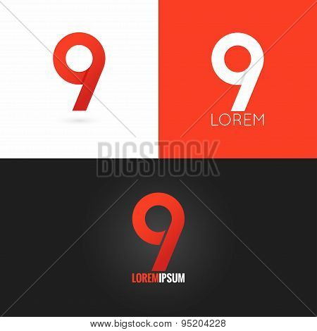 number nine 9 logo design icon set background