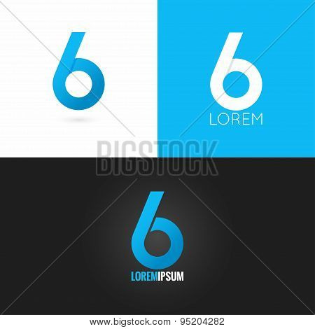 number six 6 logo design icon set background