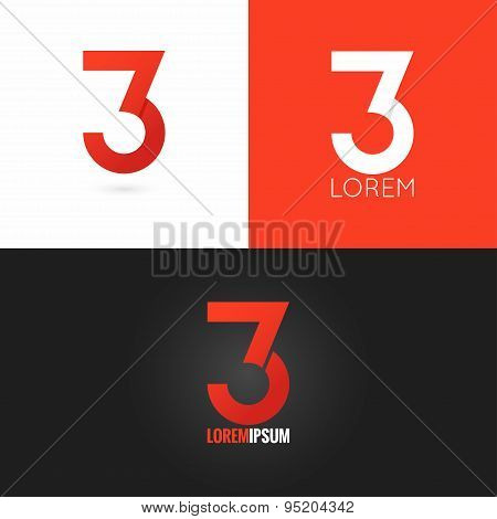 number three 3 logo design icon set background
