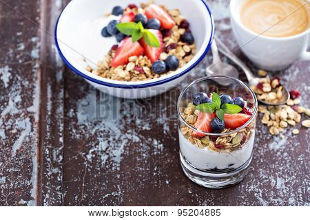 Breakfast parfait with homemade granola