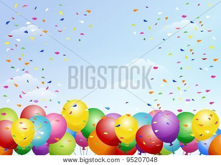 Festival Background With Balloons On The Blue Sky
