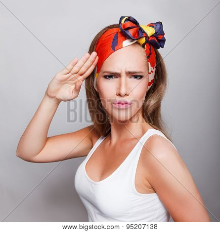 Closeup Of A Pretty Woman Saluting