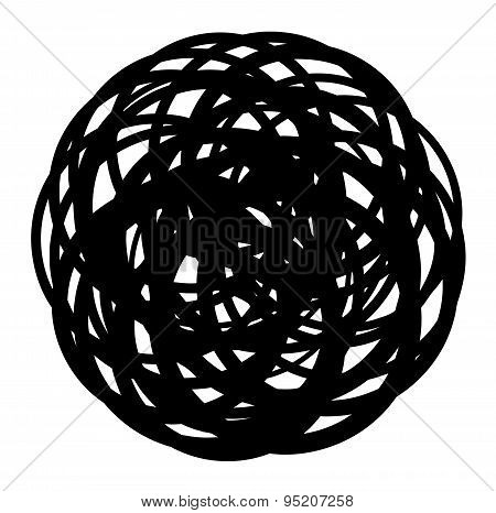 Abstract Coiled Wire Icon Shape On White