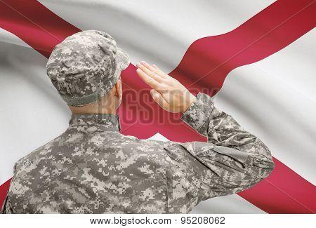 Soldier Saluting To Us State Flag Series - Alabama