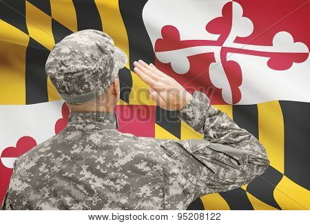 Soldier Saluting To Us State Flag Series - Maryland