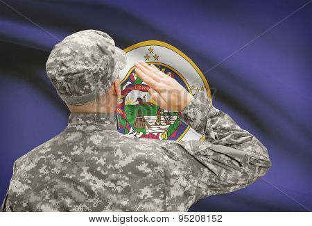 Soldier Saluting To Us State Flag Series - Minnesota