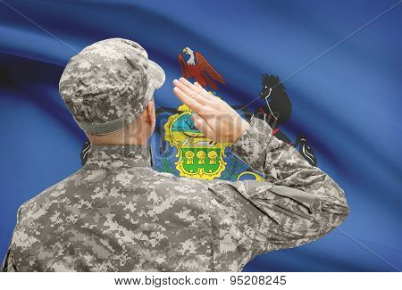 Soldier Saluting To Us State Flag Series - Pennsylvania