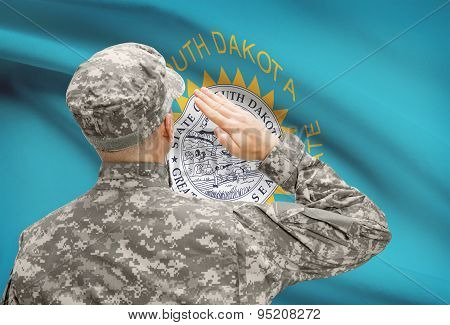 Soldier Saluting To Us State Flag Series - South Dakota