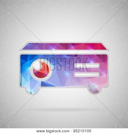 Abstract creative concept vector icon of projector. For web and mobile content isolated on backgroun