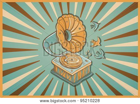 Vector Retro Postcard With Gramophone