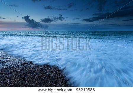 Atlantic Ocean Waves In Dusk