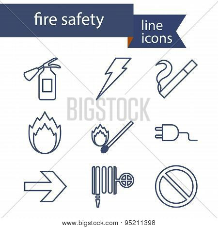 Set of line icons for fire safety.