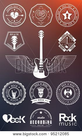 Set Badges Of Rock Music And Rock And Roll