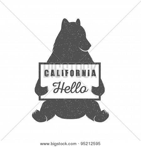 Funny Hitchhiking Bear With California Sign