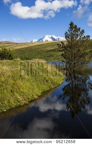 Landscape With Lake In The Background Chimborazo