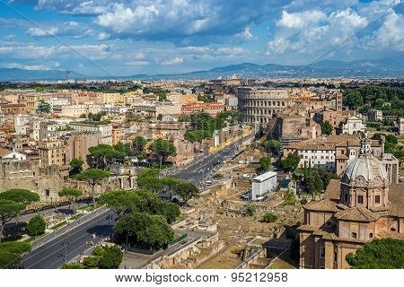 Rome skyline and Colosseum - Italy