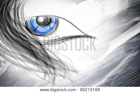 Expression Of The Blue-eyed Ladies Emotional Abstract Illustration