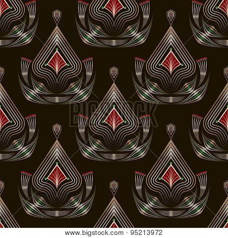 Seamless Pattern Graphic Ornament. Floral Stylish Background. Vector Repeating Texture With Elements
