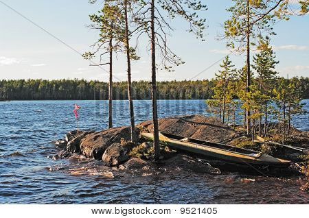 Canoe On Rocky Island