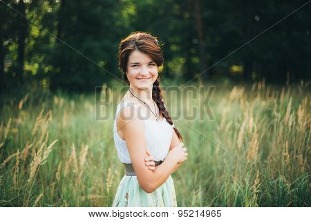 Close Up Portrait Of Young Happy Beauty Red Hair Girl In Nature