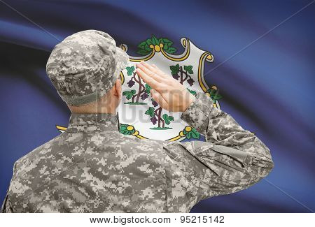 Soldier Saluting To Us State Flag Series - Connecticut