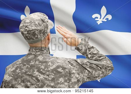 Soldier Saluting To Canadial Province Flag Series - Quebec