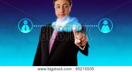 Smiling Businessman Contacting Workers Via Cloud